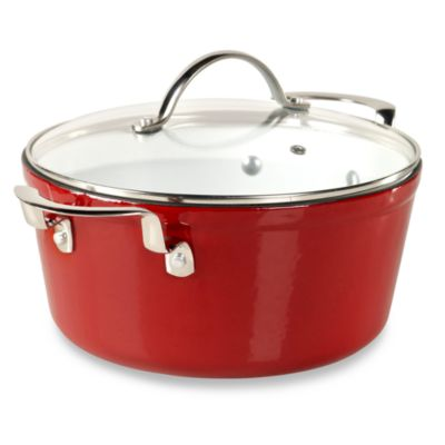 Philippe Richard® 5-Quart Red Cast Enamel Round Covered Casserole