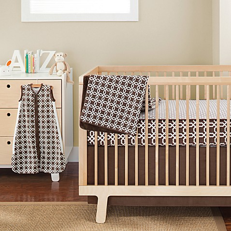 SKIP*HOP® Chocolate Lattice Complete Sheet™ 4-Piece Crib Bedding Set