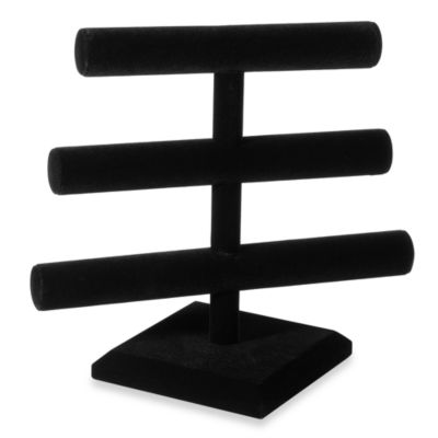 3-Tier Black Velvet Jewelry Organizer