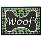 PB Paws Pet Collection Woof 13-Inch x 19-Inch Pet Mat in Coffee Bean/Pesto