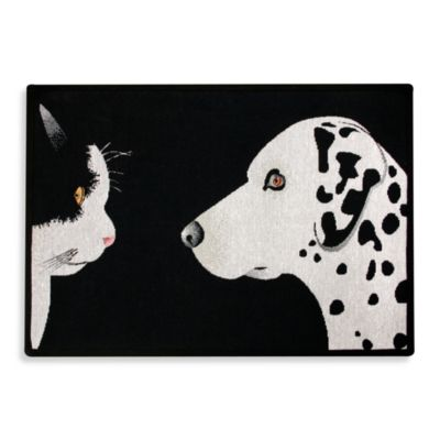 PB Paws Pet Collection Best Friends 19-Inch x 27-Inch Pet Mat in Black and White
