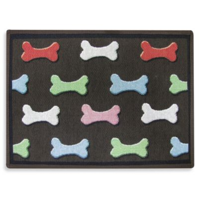 PB Paws Pet Collection Bone Collection 13-Inch x 19-Inch Pet Mat in Multi