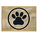 PB Paws Pet Collection Paws 13-Inch x 19-Inch Pet Mat in Black and Gold