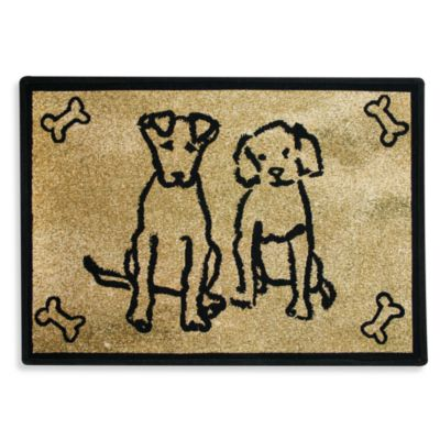PB Paws Pet Collection Dog Friends 13-Inch x 19-Inch Pet Mat in Gold