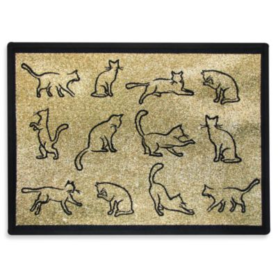 PB Paws Pet Collection Kitten Fun 13-Inch x 19-Inch Cat Litter Mat in Gold/Black