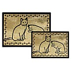 PB Paws Pet Collection Kitty Pals Cat Litter Mats (Gold and Black)