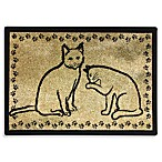 PB Paws Pet Collection Kitty Pals 19-Inch x 27-Inch Cat Litter Mat in Gold and Black