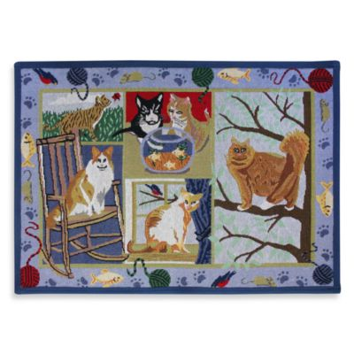 PB Paws Pet Collection Cat Days 13-Inch x 19-Inch Cat Litter Mat in Multi