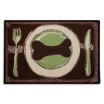 PB Paws Pet Collection Dog's Dinner13-Inch x 19-Inch Pet Mat in Leaf/Pesto
