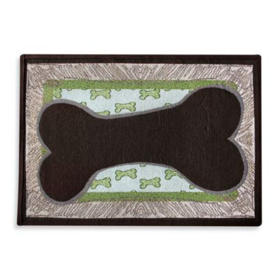 PB Paws Pet Collection Bone Sketch 19-Inch x 27-Inch Pet Mat in Leaf/Pesto
