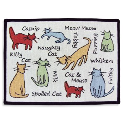 PB Paws Pet Collection Cat Show 13-Inch x 19-Inch Pet Mat in Multi