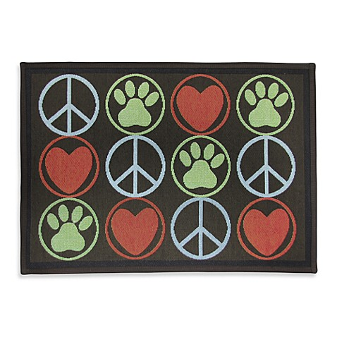 PB Paws Pet Collection Peace Paws 13-Inch x 19-Inch Pet Mat in Multi