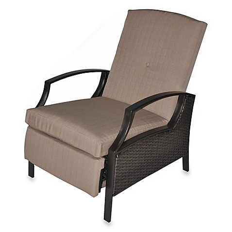 Buy Wicker Deep Seating Outdoor Recliner With Beige Cushions From Bed Bath A