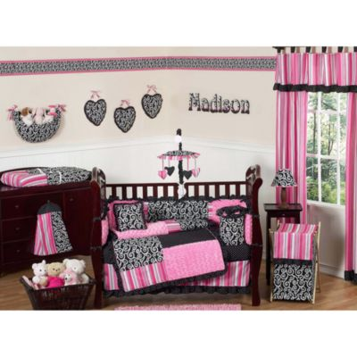 Pink and Black Polka Dot Bedding