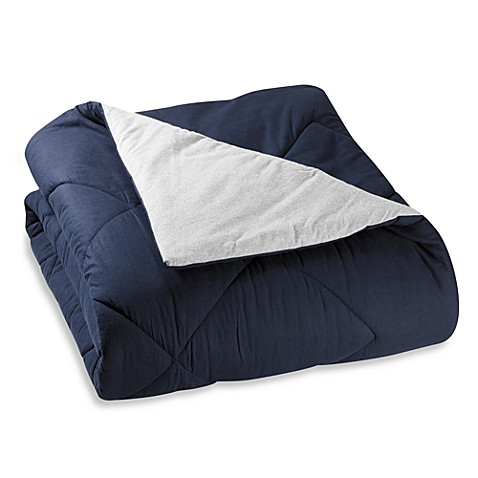 The Seasons Collection® Reversible Full/Queen Flannel Comforter in Navy/Gray
