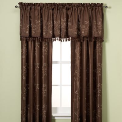 Debut Embroidery 63-Inch Rod Pocket Window Curtain Panel in Mink