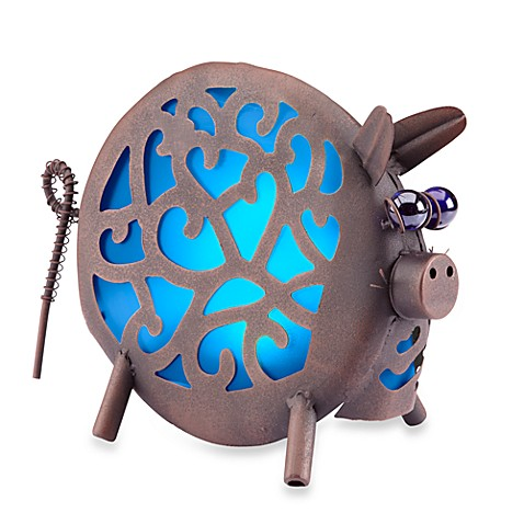 Garden Meadow Solar Pig Lantern in Blue