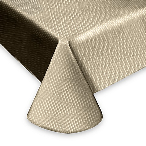 Crossroads 59-Inch Round Oil Cloth Tablecloth in Tan