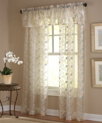 Amberly Embroidered Leaf 84-Inch Rod Pocket Sheer Window Panel