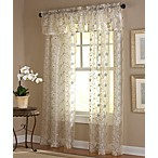 Amberly Rod Pocket Sheer Embroidered Leaf Window Panel Valance