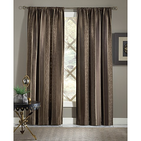 Designers' Select Mayfair 95-Inch Stripe Rod Pocket/Back Tab Window Panel in Chocolate