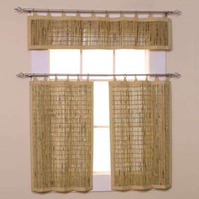 Easy Glide All-Natural Bamboo 24-Inch Ring Top Window Curtain Tier Pair