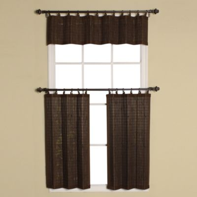 Easy Glide All-Natural Bamboo Ring Top Window Curtain Tier Pair