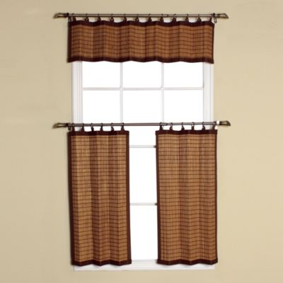Easy Glide All-Natural Bamboo Ring Top 24-Inch Window Curtain Tier Pair