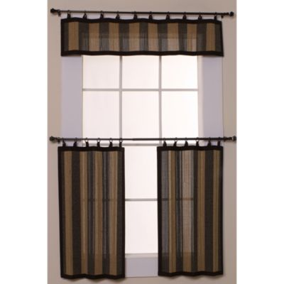 Easy Glide All-Natural Bamboo Ring Top Window Curtain Tier Pair - 24-Inch