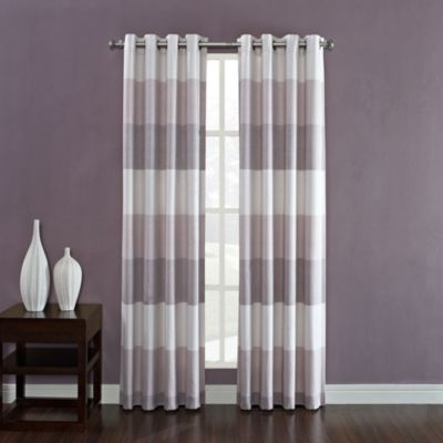 Kas Ribbon 95-Inch Window Curtain Grommet Panels in Plum