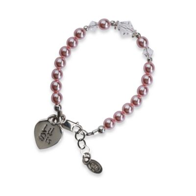 Cherished Moments Lil Sis Medium Sterling Silver Bracelet in Pink