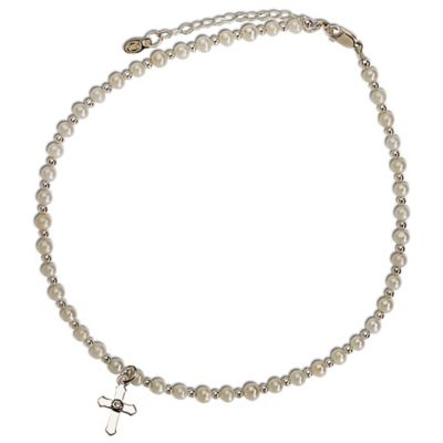 Cherished Moments 12 in 14-Inch Pearl Necklace with Cross