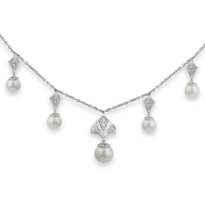 Badgley Mischka® Modern Deco Sterling Silver Pearl & White Topaz Necklace