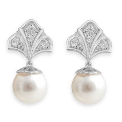 Badgley Mischka® Modern Deco Pearl & White Topaz Sterling Silver Earrings