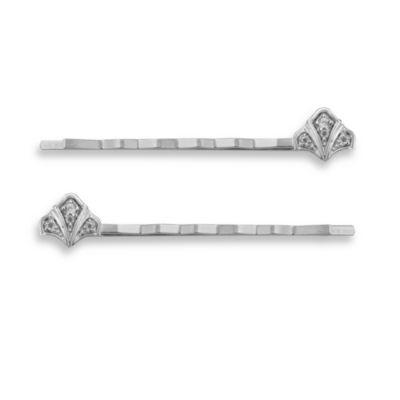 Badgley Mischka® Modern Deco Sterling Silver Bobby Pins (Set of 2)