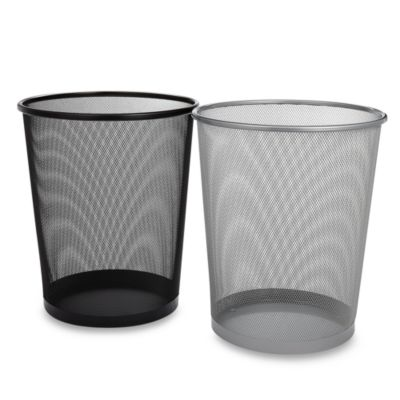 Mesh Metal Wastebasket in Chrome
