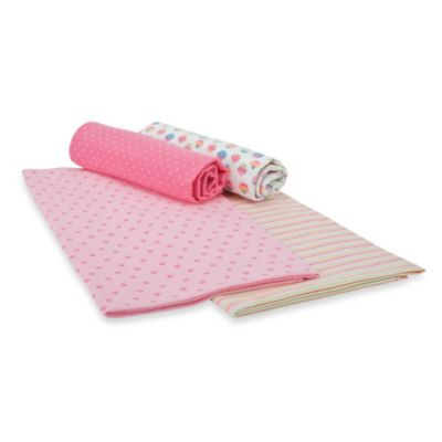 Gerber® Brushed Flannel Receiving Blankets in Pink Set
