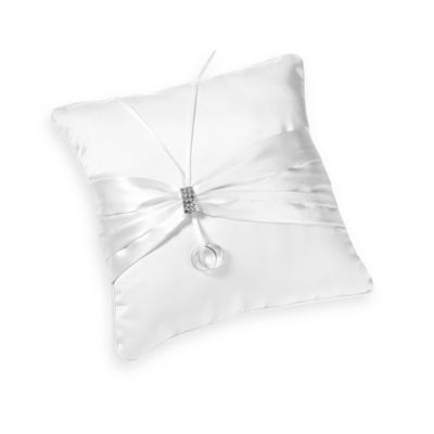 White Rhinestone Ring Pillow White