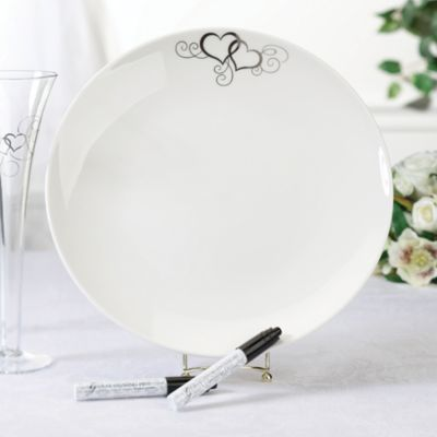 Lillian Rose™ Round Silver Heart Guest Signing Plate with 2 Pens