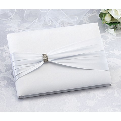 Lillian Rose™ White Sash with Rhinestone Guestbook