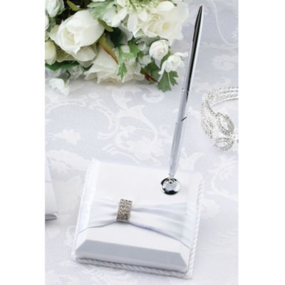White Sash with Rhinestone Pen Set