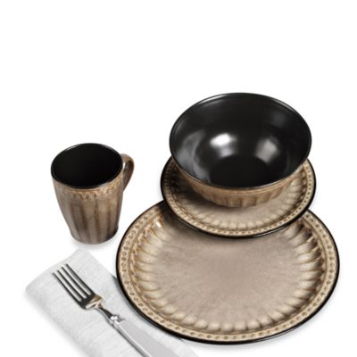 TTU Gallery 16-Piece Reactive Glaze Beads Dinnerware Set - Taupe