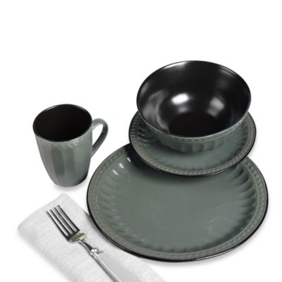 TTU Gallery 16-Piece Reactive Glaze Beads Dinnerware Set - Green