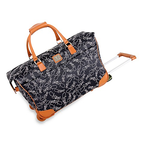 DVF Signature Collection Jacquard Fabric - Black Wheeled Duffle