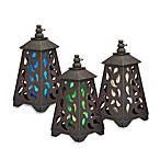 Garden Meadow Solar Scroll Pyramid Wooden Lantern