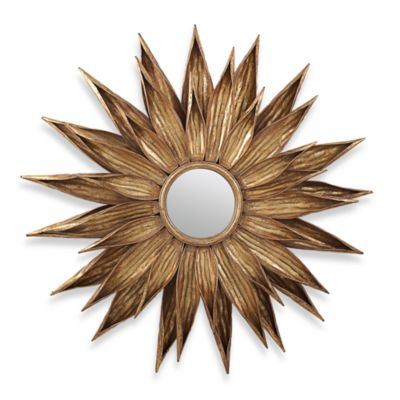 Two's Company® Sunflower™ Antiqued Gold Wall Mirror