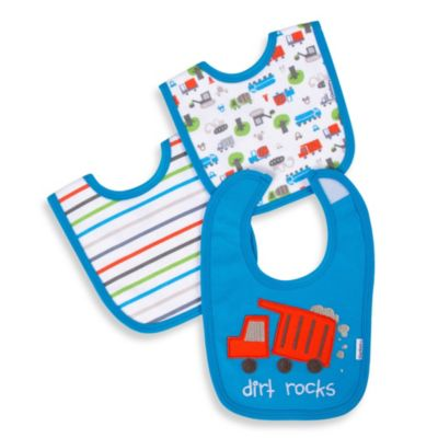 Gerber® Cotton Interlock Bibs 3-Pack - Blue All Star