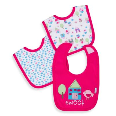 Gerber® Cotton Interlock Bibs 3-Pack in Pink Flower Love