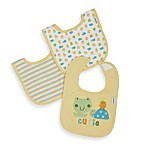 Gerber® Cotton Interlock Bibs 3-Pack in Green Safari Smile