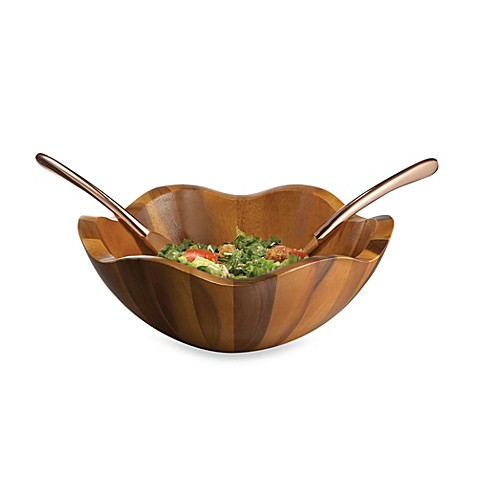 Nambe Copper Canyon Salad Bowl with Servers